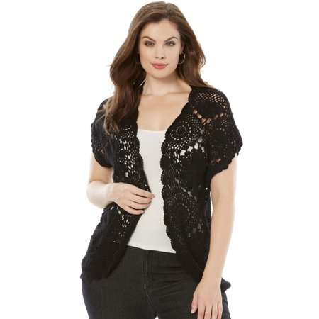 Plus Size Medallion Crochet Cardigan