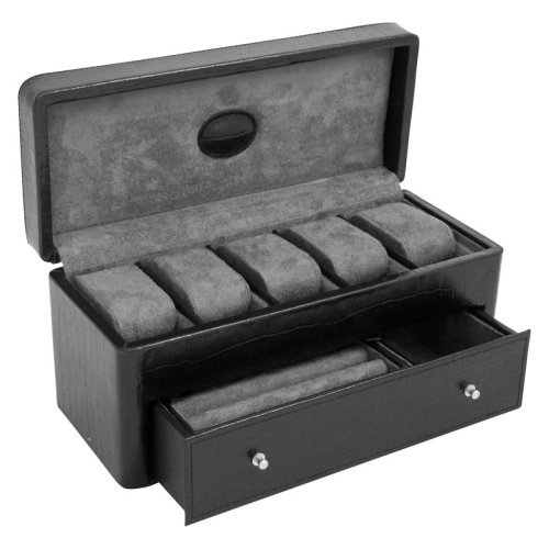 Black Faux Croco Leather Watch Case - 11.5W x 5H in.