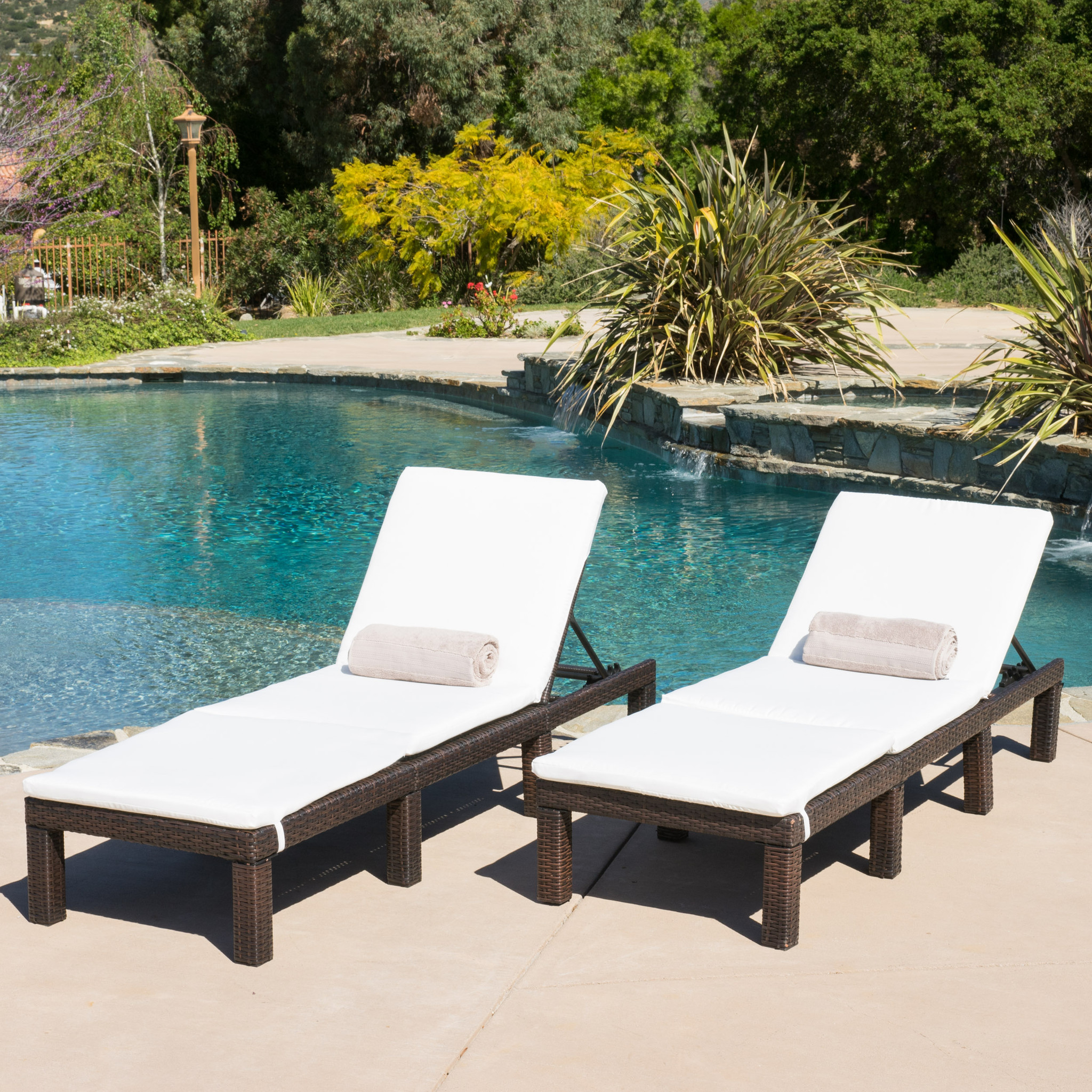 Aspen Outdoor Wicker Adjustable Chaise Lounges w  Cushions (Set of 2) by NFusion