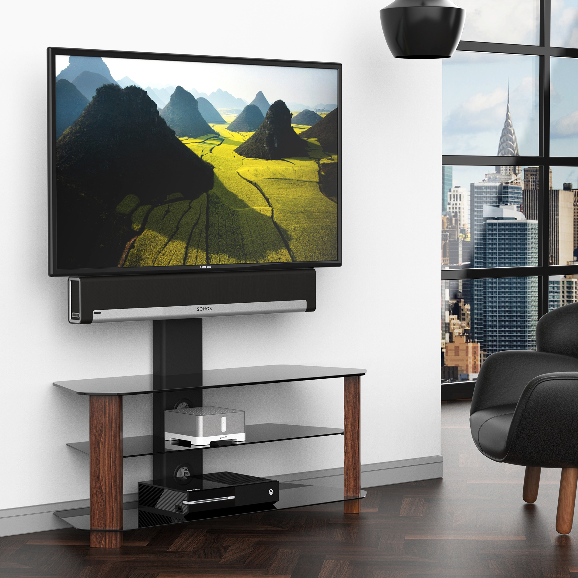 Fitueyes Floor Tv Stand With Swivel Mount For 42 55 Inch Tv S Open