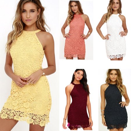Women Halter Slim Sexy Sleeveless kilt Lace Hollow Out Crochet (Crocheted Halter Dress)