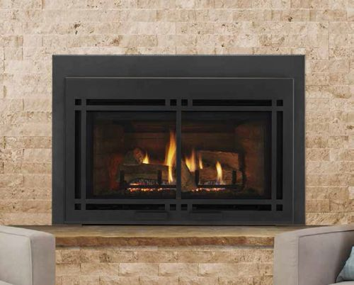 """35"""" Direct Vent Large Gas Insert with Black Door and Small Surround"""