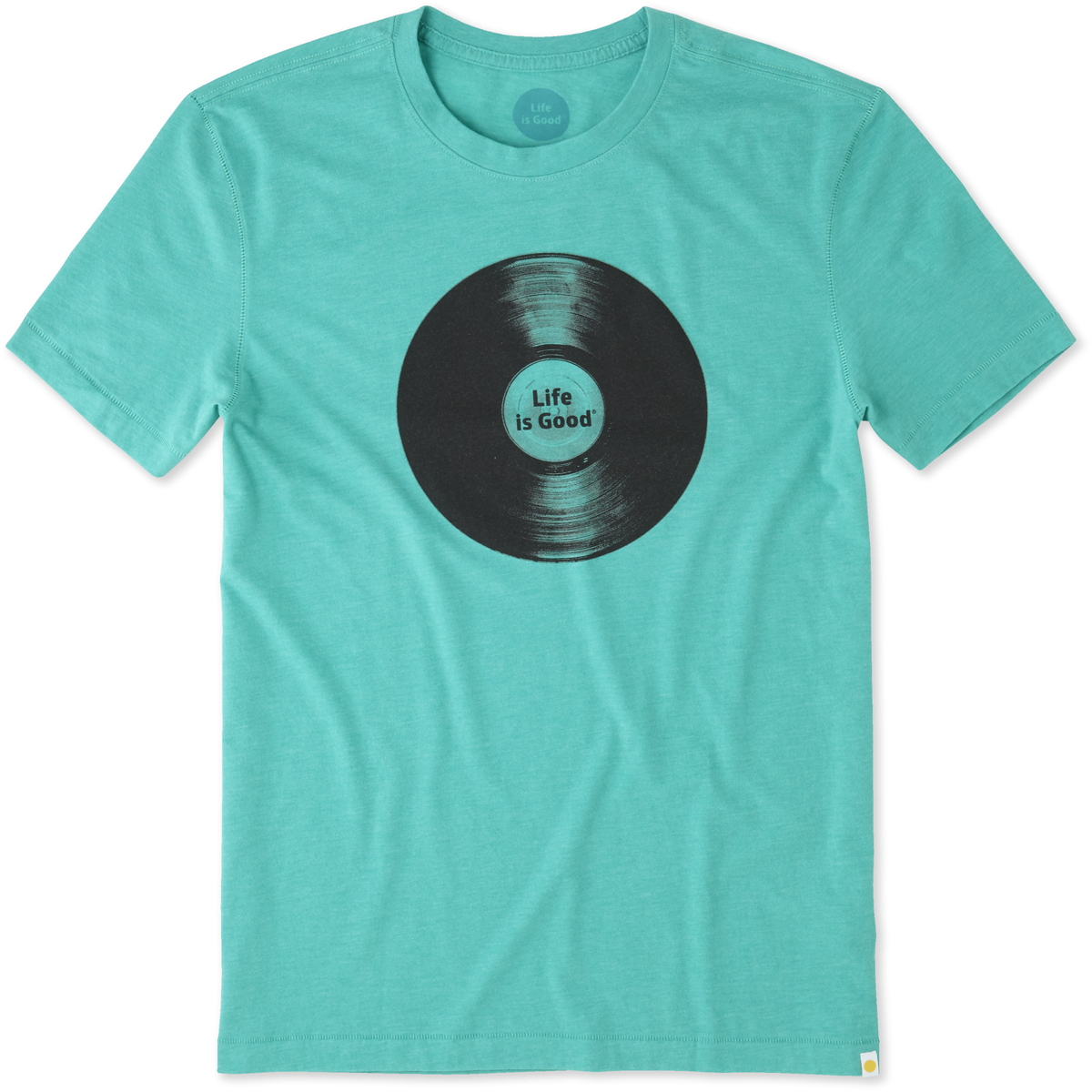 Life is Good. Men's Cool Tee - Record LIG, Bright Teal