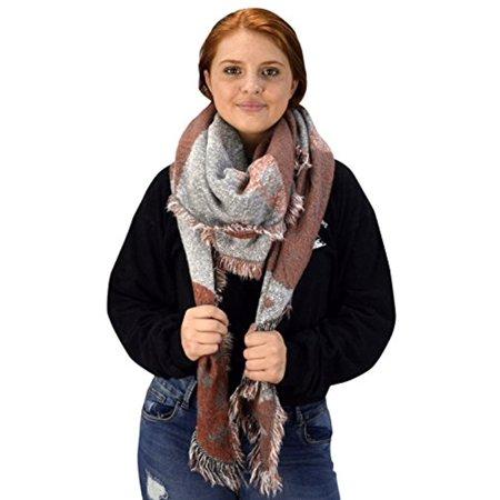 Peach Couture Warm Tartan Plaid Woven Oversized Fringe Scarf Blanket Shawl Wrap Oblong (Woven Fringe Scarf)