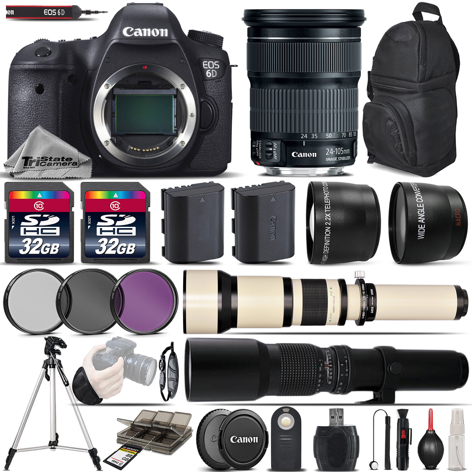 Canon EOS 6D DSLR WiFi/GPS Camera + 24-105mm IS STM Lens ...