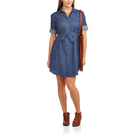 Millenium Women 39 S Roll Sleeve Belted Chambray Shirt Dress