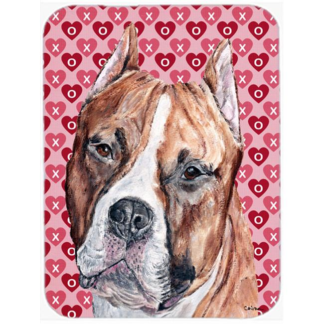Carolines Treasures SC9704LCB Staffordshire Bull Terrier Staffie Large Size Hearts And Love Glass Cutting Board - image 1 de 1