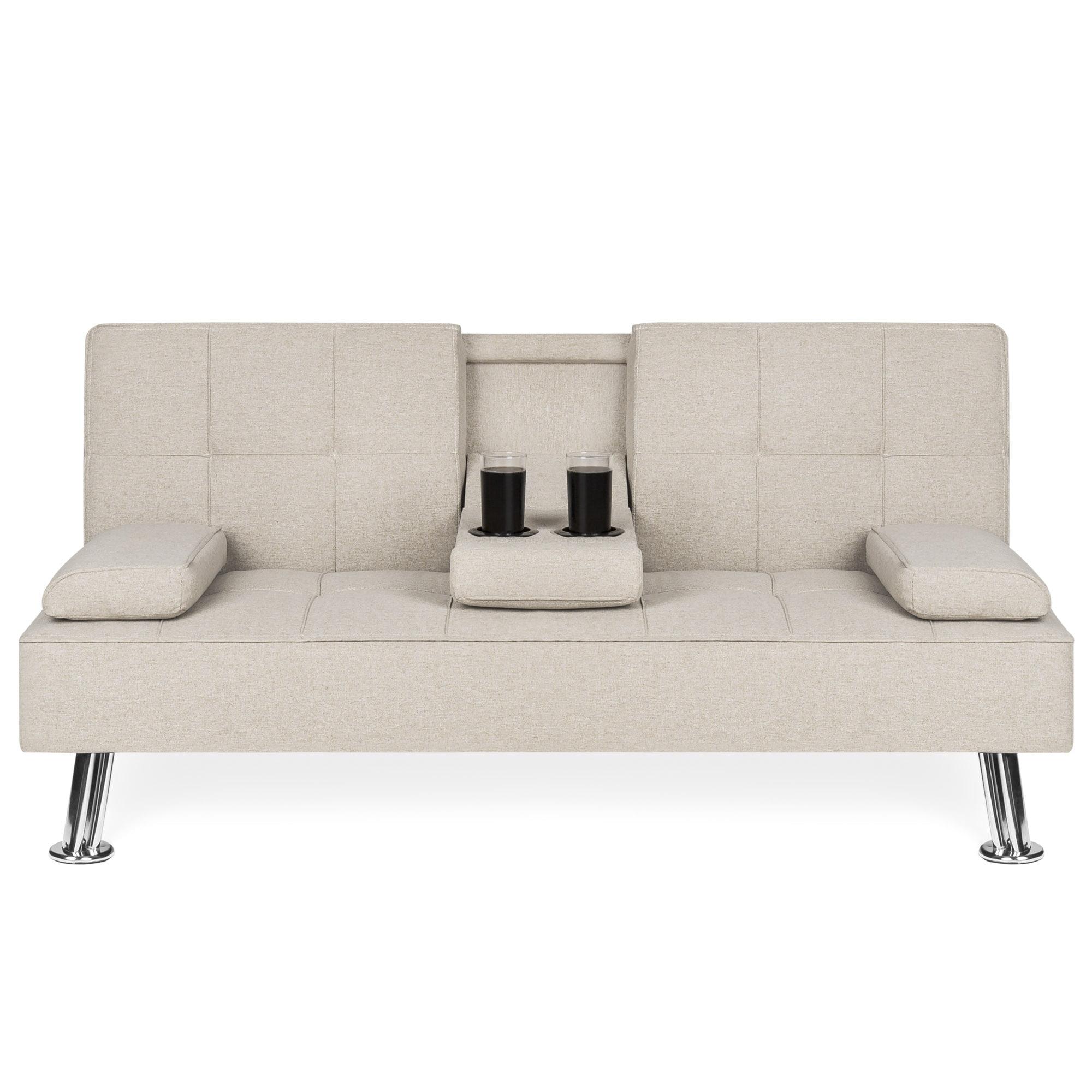 Best Choice Products Modern Linen Convertible Futon Sofa ...