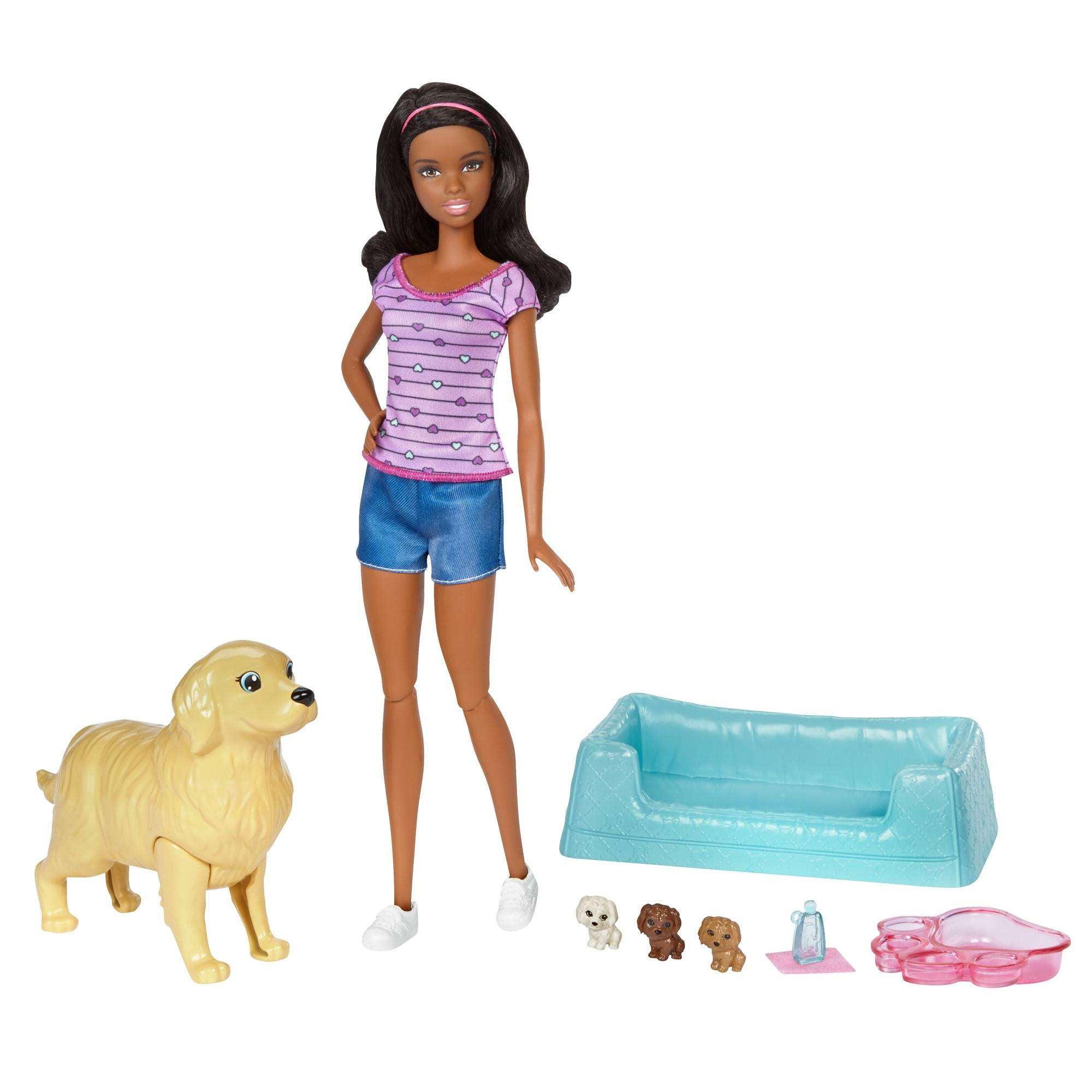 Barbie Newborn Pups African-American Doll & Pets by Mattel