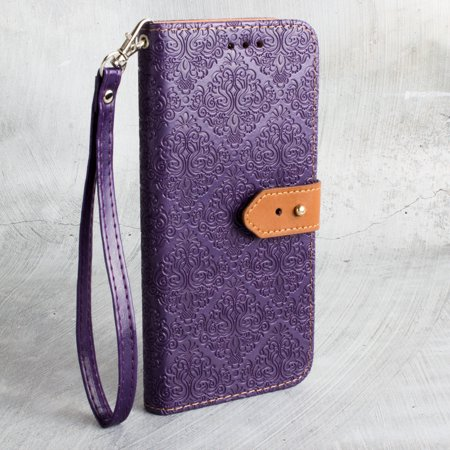CellularOutfitter Apple iPhone X Vintage Wallet Case - Floral Design w/ Detachable Matching Case and Wristlet - Purple (Iphone 4 Cases Floral Vintage)
