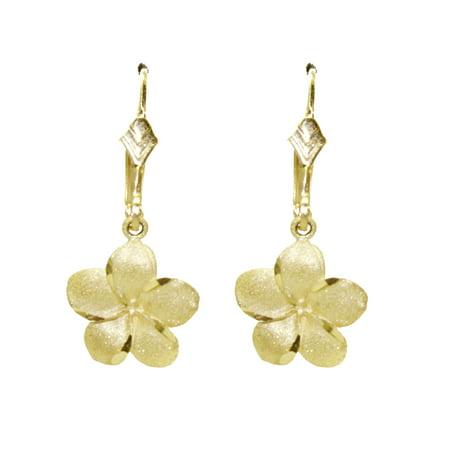 - 14k Yellow Gold Hawaiian Flower Earrings