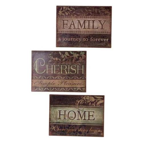 Pack 6 Spring Serenity Inspirational Family, Cherish and Home Wall Plaques