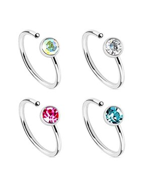 Nose Ring Hoop Tragus Earring Aqua Pink CZ Black Rose Gold Stainless Steel 20G Piercing Set 4 Pieces