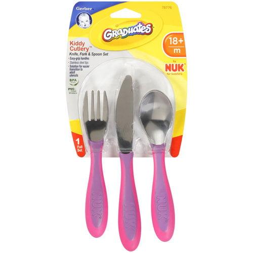 Gerber Graduates Kiddy Cutlery Knife Fork & Spoon Set, BPA-Free (Colors May Vary)