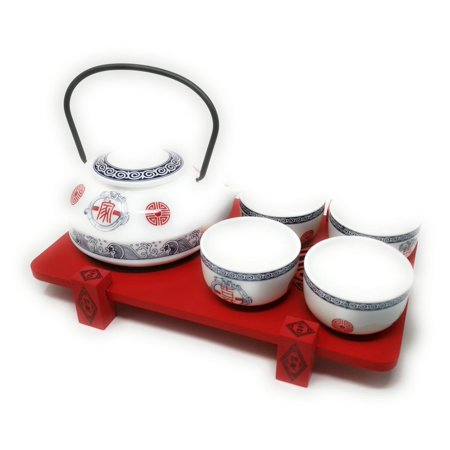- THY COLLECTIBLES Contemporary Art Decor Porcelain 5 PCS Tea Set Teapot Teacup With Wooden Stand