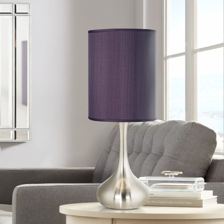 Possini Euro Design Modern Accent Table Lamp Brushed Steel Droplet Eggplant Faux Silk Cylinder Shade for Living Room Family