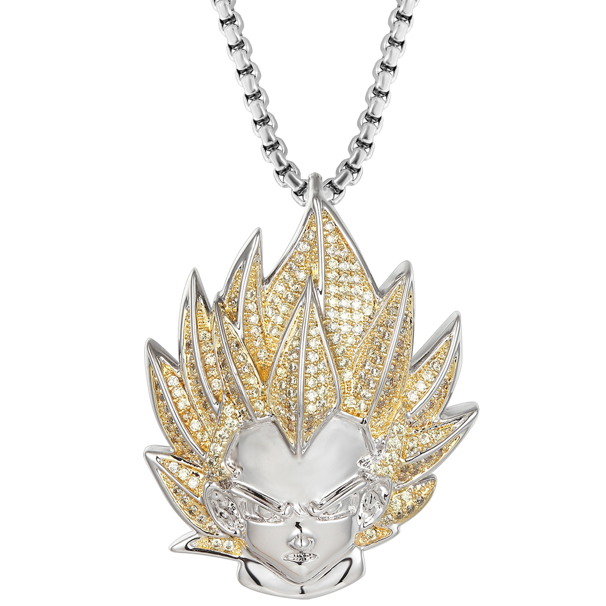 Vegeta Pendant Custom Gold Tone Box Necklace 24 Inch 2mm Yellow Simulated Diamonds