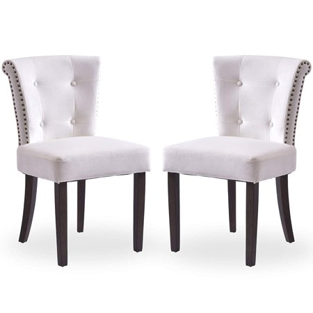 Dining Chairs Upholstered Tufted Parsons Chair Modern Accent Chairs with Nailhead Trim and Back Ring, Set of 2, Creamy White ()