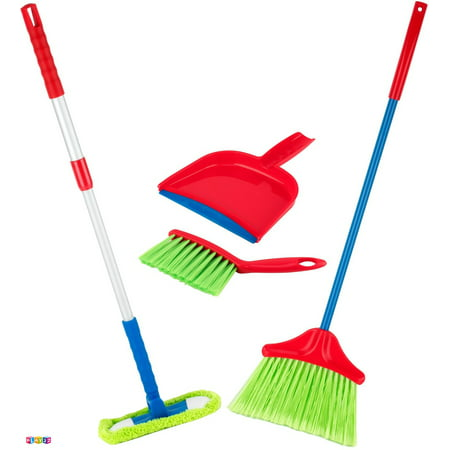 Kids Cleaning Set 4 Piece Toy Cleaning Set Includes Broom Mop