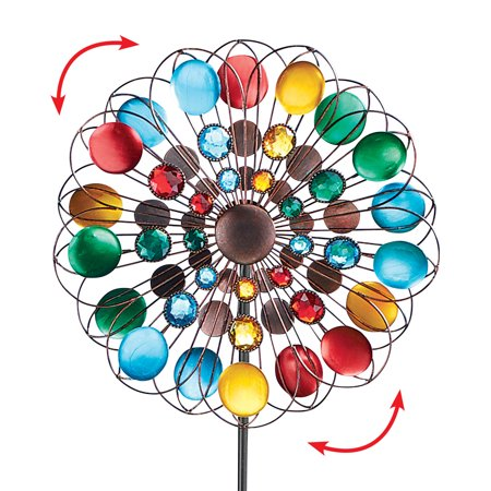 Multicolor Sparkling Double Spinner Yard Stake, Fun Outdoor Decorative Yard Accent