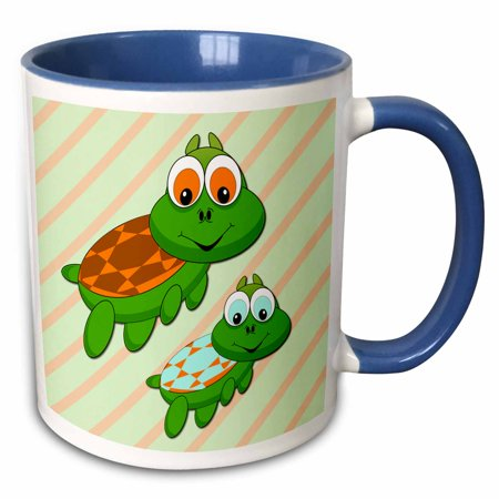 3dRose Cute turtles. Blue. Kids decor. Popular image. Best seller. - Two Tone Blue Mug,