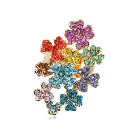 Rainbow Colorful Clustered Crystal Rhinestone Floral Flower Sized Ring