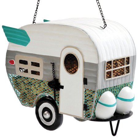 Retro Decorative Miniature Mesh Camper Trailer Weather Proof Birdfeeder, Adorable bird feeder that protects your bird food from squirrels By - Gsi Bugaboo Base Camper