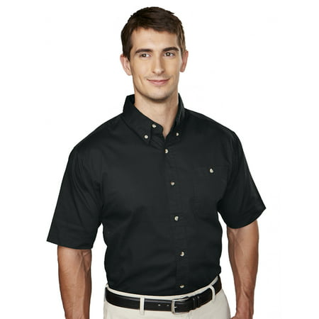 Tri-Mountain Director 808 Cotton Short Sleeve Twill Shirt, 2X-Large, Black