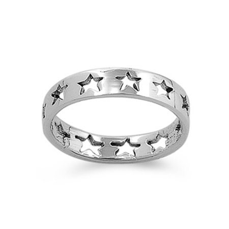 Sterling Silver Baby Star Eternity 4mm Band Beautiful Solid 925 Ring Size 7 (Eternity Band Sterling Silver)