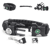 LED Light Outdoor Survival Camo Paracord Bracelet Flint Fire Starter Compass NEW (Black)