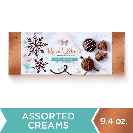 Russell Stover, Assorted Creams in Milk and Dark Chocolate, Holiday Chocolate Gift Box, 9.4 oz. (17 Pieces)