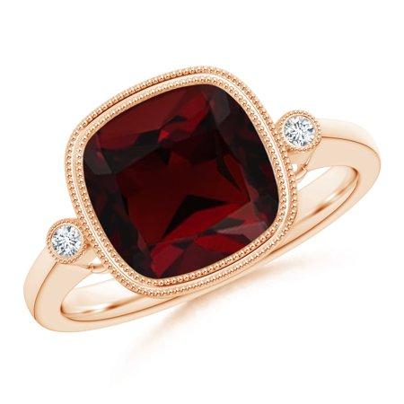 Valentine Jewelry Gift - Bezel Set Cushion Garnet Ring with Milgrain Detailing in 14K Rose Gold (9mm Garnet) - SR1069GD-RG-AA-9-7