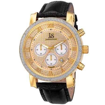 Black Leather Diamond Watch (Men's Diamond Chronograph Leather Black Strap Watch)