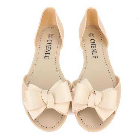 b31186be4 Fashion Summer Women Slip On Bow Jelly Flats Sandals Beach Clear Shoes  Slippers - Walmart.com