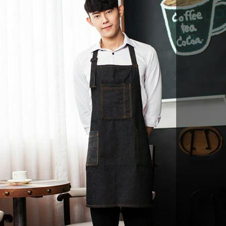 Fashion Denim Apron with Pockets Adjustable Unisex Kitchen Coffee Shop Uniforms - image 2 of 8