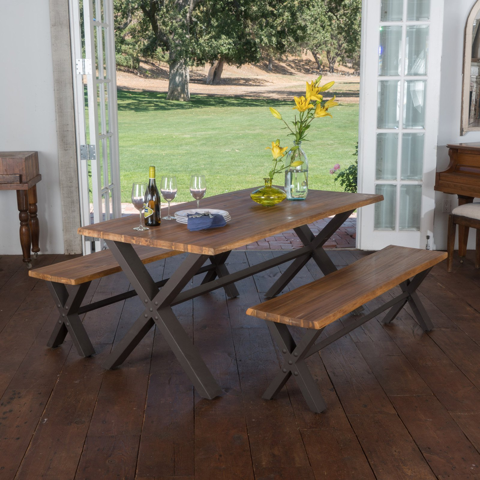 Yumandale Teak Finish Acacia Wood 3 Piece Dining Set