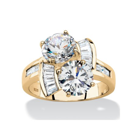 Round and Baguette Cubic Zirconia 2-Stone Bypass Ring 5.20 TCW in 14k Gold over Sterling (Baguette Swirl Bypass Ring)