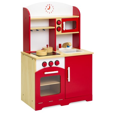 Best Choice Products Kids Wooden Kitchen Cooking Play Set w/ Wooden Pot & Pan Accessories - Red