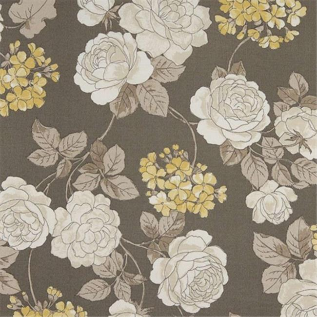 Designer Fabrics C434 54 inch Wide Grey, White And Gold, Floral Outdoor, Indoor, Marine Upholstery Fabric