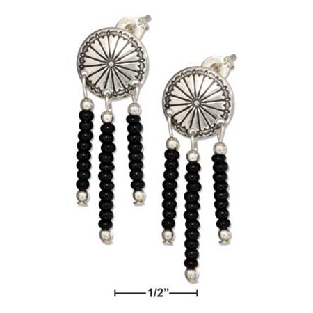 Fringed Concho (STERLING SILVER CONCHO EARRINGS WITH BLACK PONY BEAD)