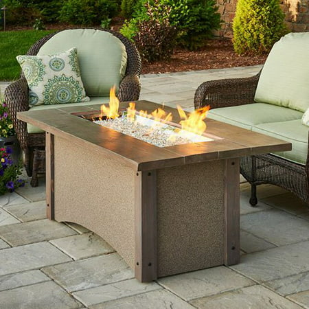Outdoor GreatRoom Pine Ridge Rectangular Fire Pit Table with Free Burner Cover