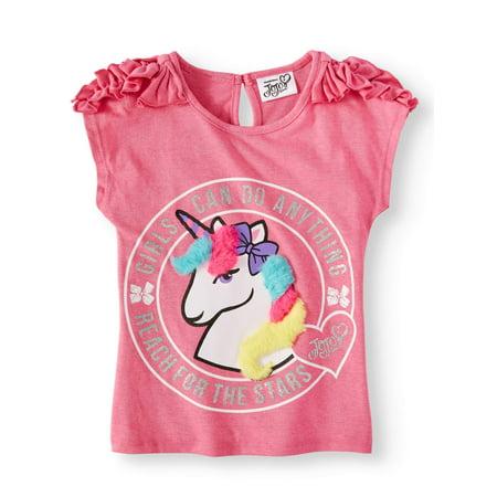 JoJo Siwa Unicorn Ruffle Shoulder T-Shirt (Little Girls)