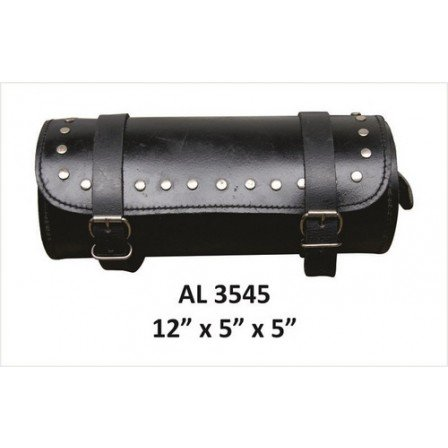 Motorcycle Travel Luggage Round Studded Cowhide Soft Leather Tool
