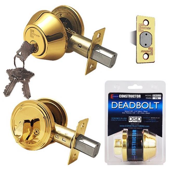 Deadbolt Door Lock Set with Single Cylinder, Polished Brass