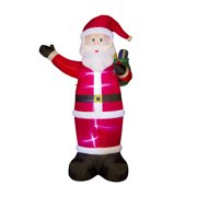 Glitzhome 11.81''H Outdoor Winter Christmas Lighted Inflatable Santa Décor