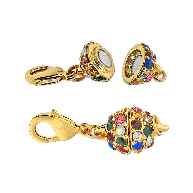 Beadelle Crystal 8mm Round Pave Magnetic Clasp Gold Pl. / Dk Multi Rainbow 8mm