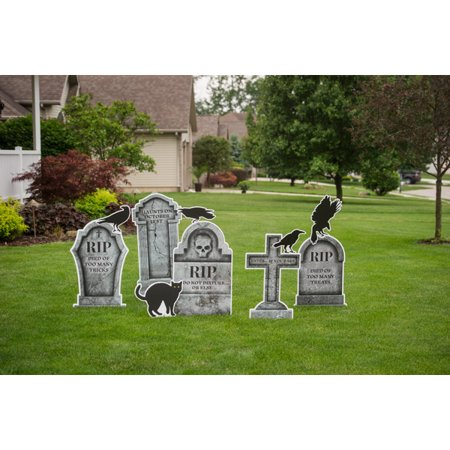 Graveyard Tombstone Yard Signs, Set of 10 - Diy Graveyard Halloween