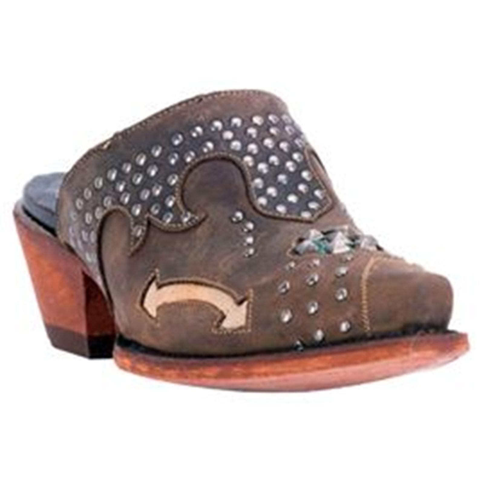 Dan Post Ladies Tan Oiled Clog with Studs Cushion Comfort Insole, DPP5099 by DAN POST