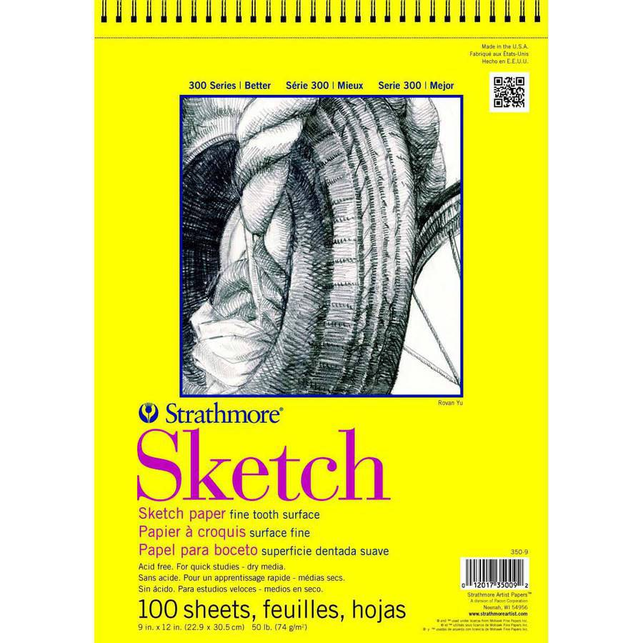 Strathmore 300 Series Light-Weight Sketch Pad, 9 x 12 Inches, 50 lb, 200 Sheets