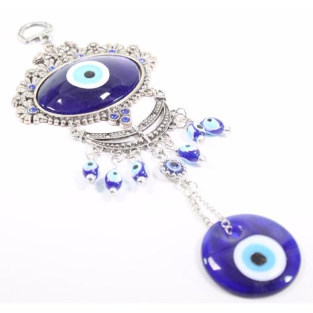 Turkish Oval Blue Evil Eye Amulet Wall Hanging Decor Blessing Protection Gift